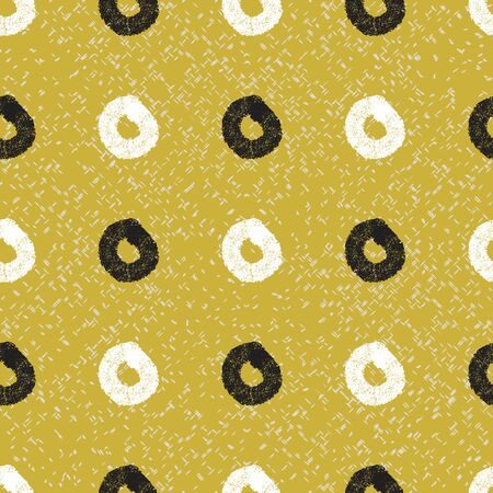 Circular textured white and black marks on textured mustard background seamless pattern.