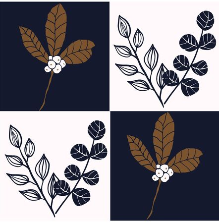 Ivory and indigo grid with leaves and berries in earth tones seamless repeat.