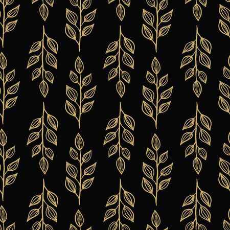 Elegant gold leaves on dark background seameless repeat. Illustration