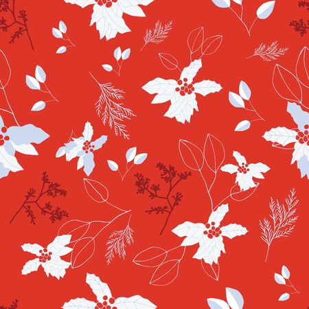 Red and blue berries and leaves on bright red background seamless repeat. Vector repeat pattern with a Christmas vibe in contemporary style. Great for Christmas, giftwrap, stationery, packaging.