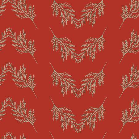 Elegant green leaves on dark red seameless repeat.