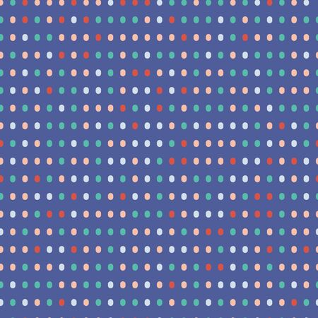 Random red, pink, green and blue dots on purple background seamless pattern. Illustration