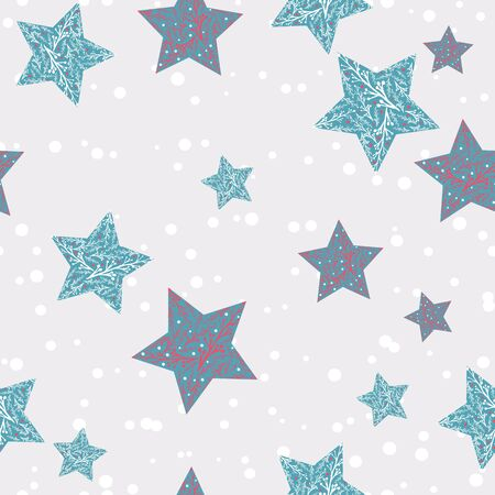 Patterened stars on greige snowy background seamless repeat.
