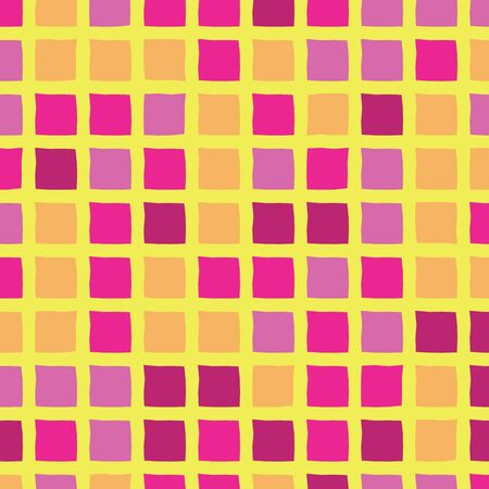 Bright purple, yellow, orange and fuchsia square grid seamless repeat.