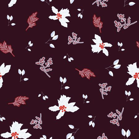 Red and white berries and leaves on brown background seamless repeat.
