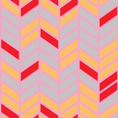 Bright seamless chevron vector pattern in red, pink, grey and yellow. Banque d'images - 137529772