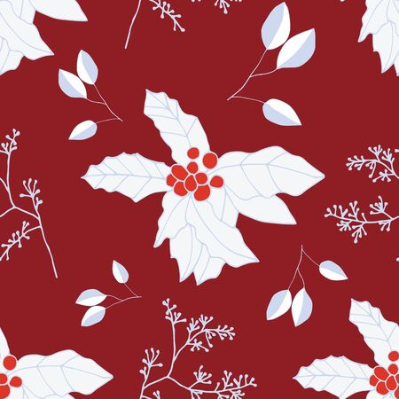 Red and white berries and leaves on dark red background seamless repeat. Vector repeat pattern with a Christmas vibe in contemporary style. Great for Christmas, giftwrap, stationery, packaging.