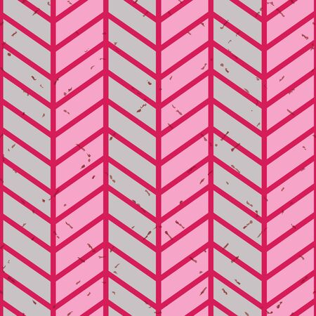Bright seamless textured chevron vector pattern in red and pink.