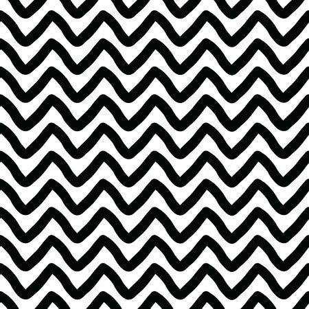 Bold seamless chevron vector pattern with a hand-drawn vibe in black and white. Illustration