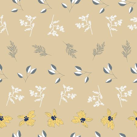 White and grey berries and leaves on beige background seamless repeat. Vector repeat pattern with a Christmas vibe in contemporary style. Great for Christmas, giftwrap, stationery, packaging.
