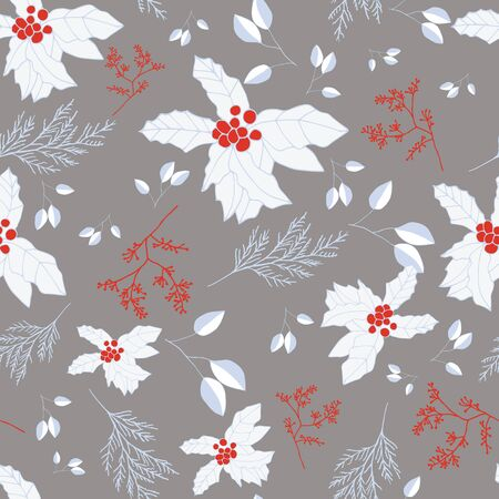 Red and blue berries and leaves on grey background seamless repeat. Vector repeat pattern with a Christmas vibe in contemporary style. Great for Christmas, giftwrap, stationery, packaging.  イラスト・ベクター素材