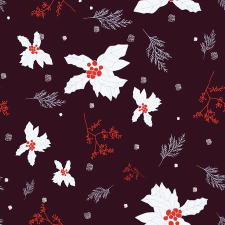 Red and blue berries and leaves on brown background seamless repeat. Vector repeat pattern with a Christmas vibe in contemporary style. Great for Christmas, giftwrap, stationery, packaging. Illustration