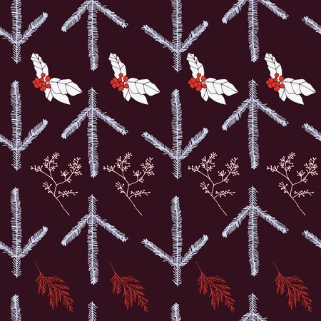 Red and blue berries and leaves on indigo background seamless repeat. Vector repeat pattern with a Christmas vibe in contemporary style. Great for Christmas, giftwrap, stationery, packaging. Illustration