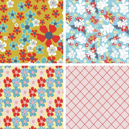 Vector set of four floral seamless patterns. Summer wild flower seamless set great for textiles, fashion, gift wrapping paper and graphic design.For lovers of flowers who want a colorful, unique look. Banque d'images - 139891227