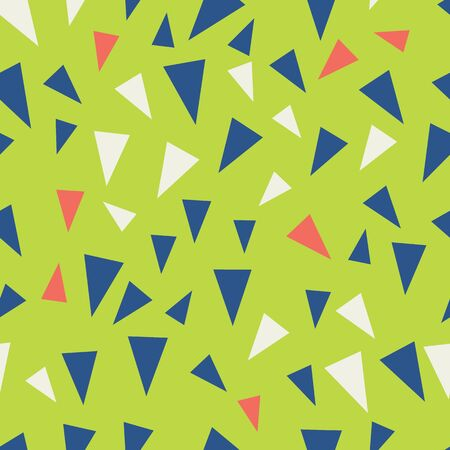 Modern triangle seamless pattern in blue, coral, lime green and creme. Banque d'images - 137529787