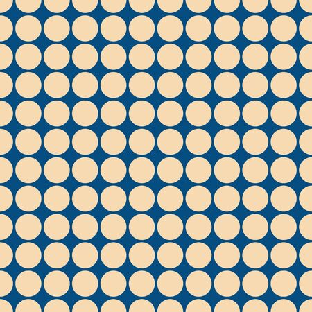 Modern dots seamless pattern in blue and light beige. All over print design great for fashion, textiles, wallpaper, gift wrapping paper and home decor items. Vector.