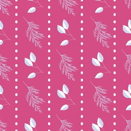White and blue leaves on bright pink background seamless repeat. Vector repeat pattern with a Christmas vibe in contemporary style. Great for Christmas, giftwrap, stationery, packaging. Illustration