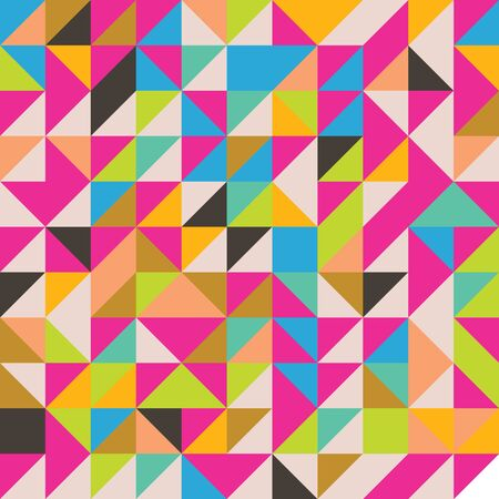 Abstract modern bright colorful random triangles seamless pattern.