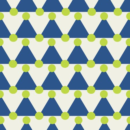 Modern fun triangles and dots pattern in blue and ivory. Seamless design great for fashion, textiles, wallpaper, gift wrapping paper, nursery, and home decor items. Vector.