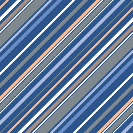 Irregular diagonal stripes in blue,peach, grey. Sophisticated, multi-width seamless repeat vector. Pretty color palette, great for mens fashion, textiles, graphic design, home decor, gift wrapping