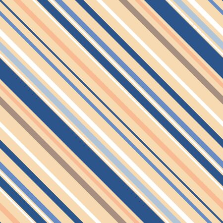 Fresh modern vibrant blue, grey and peach diagonal stripes in varied widths. Great for summer, wellness, beauty, spa products, stationery, scrapbook, home decor, textiles. Seamless vector pattern.