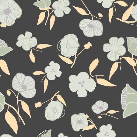 Abstract stylized poppies seamless vector pattern. Elegant floral print with grey, charcoal and ecru. For fashion, home decor, textiles, invitations, wallpaper, packaging and stationery.