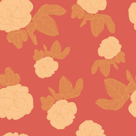 Bold and dynamic stylized roses seamless pattern design in eye-catching colors. Large blooms alternate with abstract plant sprigs to create a repeat vector design for textiles, home decor and paper.