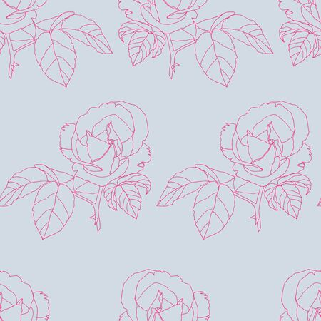 Vector Pink Vintage Roses Fabric Retro Repeating Seamless Pattern Hand Drawn In Botanical Style. Great for retro fabric, wallpaper, scrapbooking project, spring and summer wallpaper, backgrounds. Illustration