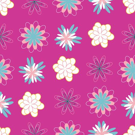 Bold and dynamic stylized flowers seamless pattern design in eye-catching colors. Large blooms in pink and turquoise create a repeat vector design for textiles, home decor and paper products. Banque d'images - 138815483