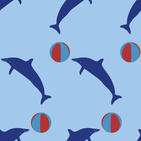 Dolphin Silhouette, Seamless Vector Pattern Background, Hand Drawn Baby Animal Illustration for Summer Fashion Prints, Kids Beach Apparel, Vacation Scrapbooking, Gender Neutral Nursery Stationery