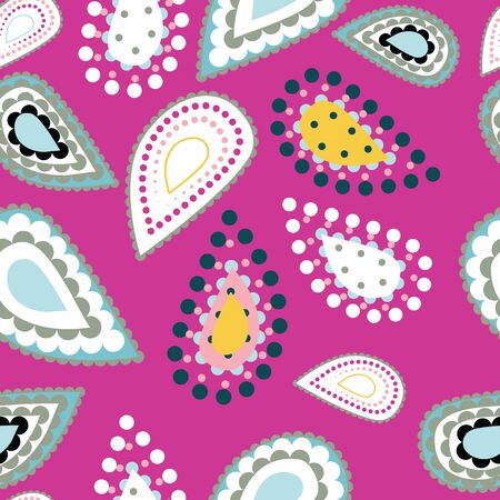 Hand drawn stylized paisley illustration. Seamless vector pattern with modern tear drop shapes,bright colors. Foulard drop motif. Decorative shawl ribbon trim retro bandana design, home decor. Banque d'images - 138817890