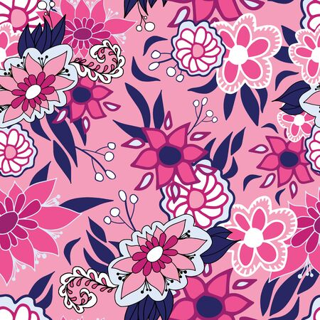 Pink, grey and blue doodle flowers folk style. Seamless vector pattern on pink background. Great for spa, well being,garden, organic products, home decor, packaging, stationery, kids fashion and decor