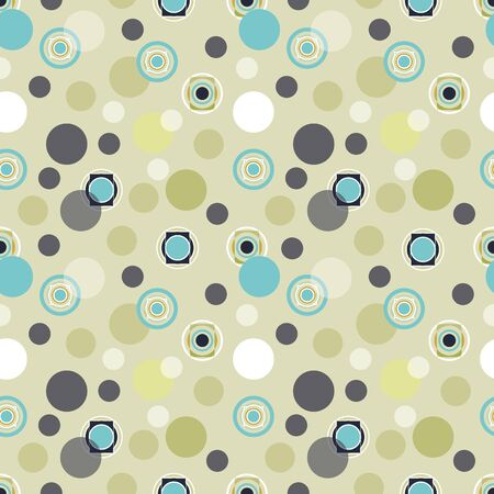 Retro 60 style pastel abstract seamless repeat with circles. All over print design great for fashion, textiles, wallpaper, gift wrapping paper, paper crafts and home decor items. Vector repeat.