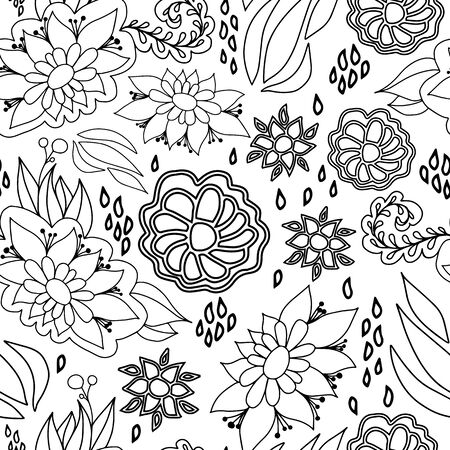 Black and white hand drawn line art floral seamless pattern. Playful stylized design great for textiles, home decor, fashion, cards, packaging, stationery, organic products, garden items, marketing. Banque d'images - 138626502