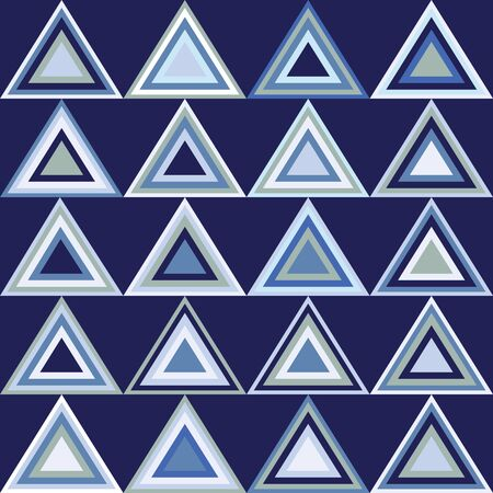 Modern triangle repeat geometric seamless pattern in shades of blue. Vector design great for backgrounds, baby, fashion and home decor textiles, wallpaper, packaging, nautical coordinates, spa.