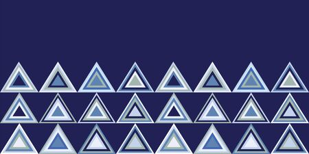 Modern triangle repeat geometric seamless border pattern in shades of blue. Vector design great for backgrounds, baby, fashion and home decor textiles, wallpaper, packaging, nautical coordinates, spa. Illustration
