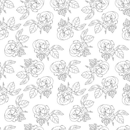 Vector Black And White Roses Fabric Retro Repeating Seamless Pattern Hand Drawn In Botanical Style. Great for retro fabric, wallpaper, scrapbooking project, spring and summer wallpaper, backgrounds.