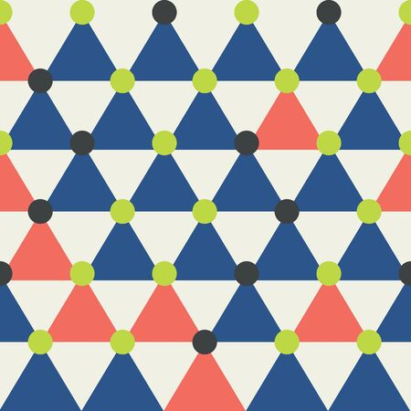 Modern triangle seamless pattern in blue, coral, lime green, creme and black. All over print design great for fashion, textiles, wallpaper, gift wrapping paper and home decor items. Vector.