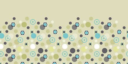 Retro 60 style pastel abstract seamless border repeat with circles. All over print design great for fashion, textiles, wallpaper, gift wrapping paper, paper crafts and home decor items. Vector repeat.