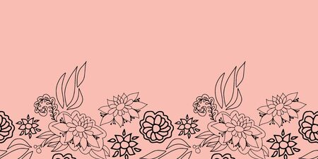 Hand drawn line art floral seamless border on pink background. Playful stylized design great for textiles, home decor, fashion, cards, packaging, stationery, organic products, garden items, marketing.