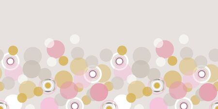 Muted pastel transparent overlapping circles border. Seamless vector repeat. Pink,mustard, grey, beige. Bubbly hipster all over print. Invitations, textiles, gift wrapping paper, home decor, cards.