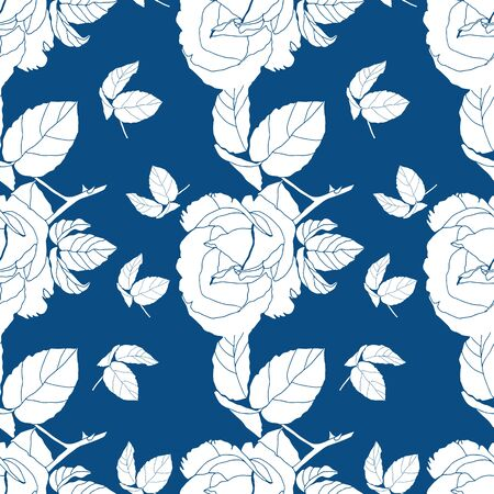 Elegant and dynamic stylized white roses on blue background seamless pattern. Large blooms alternate with abstract plant sprigs to create a repeat vector design for textiles, home decor and paper. Banque d'images - 138626494