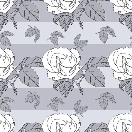 Elegant and dynamic stylized roses seamless pattern design in shades of grey. Large blooms alternate with abstract plant sprigs to create a repeat vector design for textiles, home decor and paper.