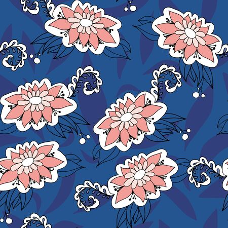 White and pink doodle flowers folk style. Seamless vector pattern on blue background. Great for spa, well being,garden, organic products, home decor, packaging, stationery, kids fashion and decor