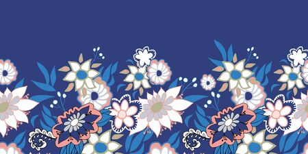White and pink doodle flowers border folk style on blue background. Seamless. Great for spa, well being,garden, organic products, home decor, packaging, stationery, kids fashion and decor