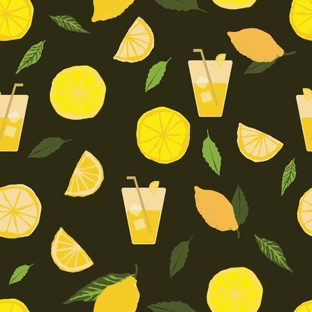 Vintage seamless pattern with lemons, lemonade glass with straw, ice cubes and lemon slices on green background. Great for textile design, scrapbook, wallpaper, packaging, restaurant menus, napkins.