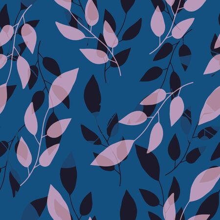Transparent hand drawn pink and navy branches with leaves. Seamless layered vector pattern on blue background. Great for garden, cosmetic products, packaging, stationery, fabric, home decor, crafts. Illustration