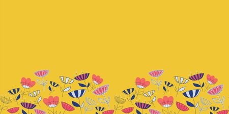 Seamless vector pattern border with abstract hand drawn bright doodle flowers background. Great for fabric, wallpaper, scrapbooking, cards or backgrounds, banners, childrens fashion decor.