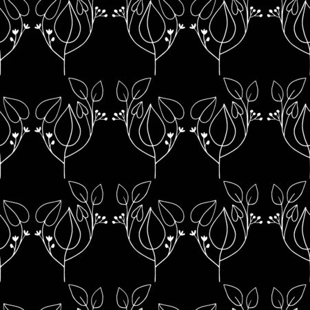 Vector seamless repeating pattern with abstract, pop art black and white allover line art. Simple and fashionable for textiles, accents, feminine office decor, wrapping paper, stationery,packaging. Banque d'images - 140338972