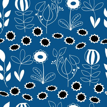 Cute doodle floral seamless vector pattern in blue and white for fabric, wallpaper, scrapbooking projects, or backgrounds. Surface pattern design. Illustration